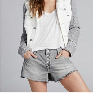 Free People Button Front Denim Jean Cutoff Shorts